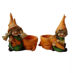 Carrot head boy and girl figurine with Carrot Pot