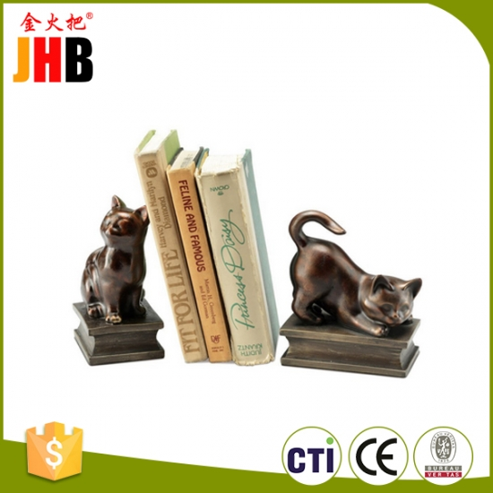Playing Cat Resin Bookend Pair